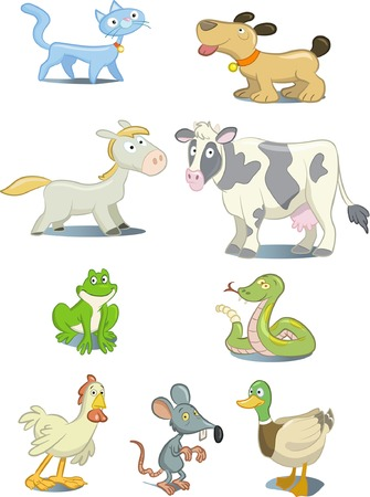 Set of cartoon style animals and pets Stock Vector - 5797662