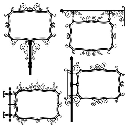 Black and white wrought iron signs set Vector