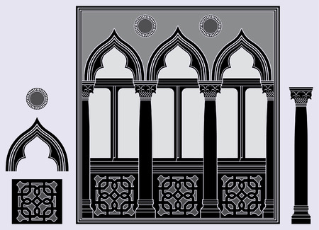 architectural elements: Three light window and architectural elements Illustration
