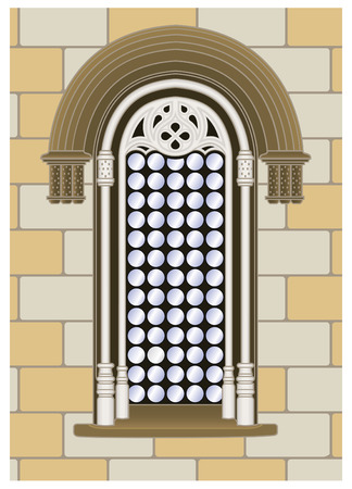 Italian gothic-reanaissance window on a wall background Stock Vector - 5957163