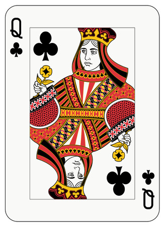 playing card symbols: Reina de la tarjeta de juego de clubes  Vectores