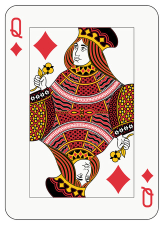 queen of diamonds: Queen of diamonds playing card Illustration