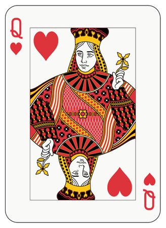 Koningin van harten speel kaart