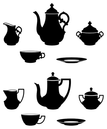 teatime: two different tea sets black and white silhouettes