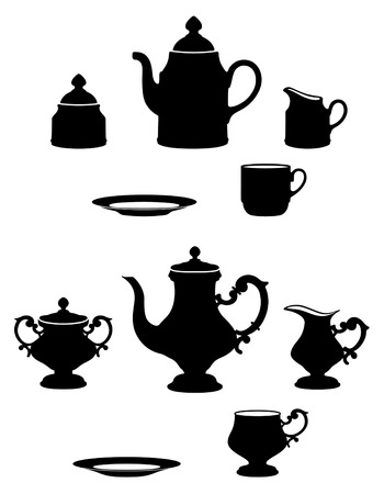two different tea sets black and white silhouettes Vector