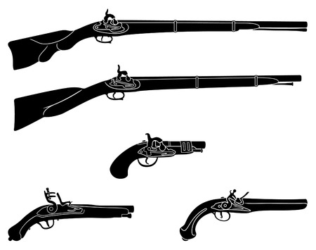 dueling: Muzzle loading firearms black and white silhouettes