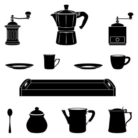 Alles was Sie, brauchen um einen guten Haushalten traditionellen italienischen Kaffee zu erhalten Vektorgrafik