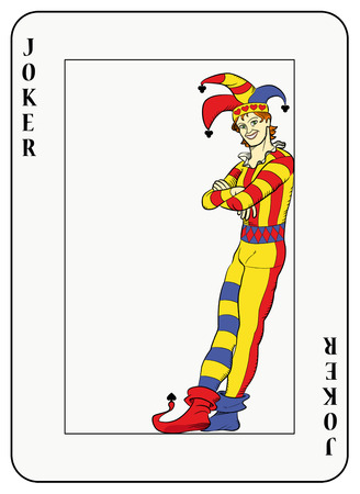 Joker leaning against playing card frame Vector