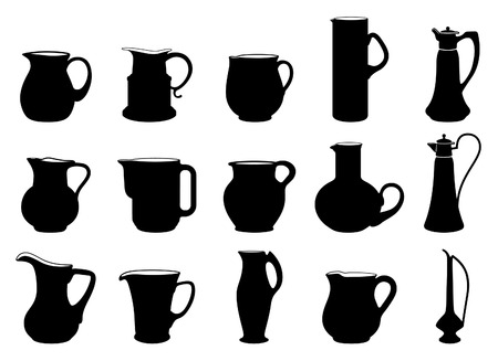 pitcher's: fifteen different jugs black and white silhouettes