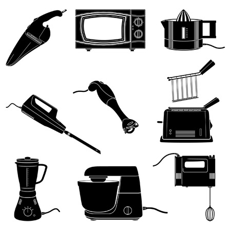 microwaves: kitchen electrical appliances black and white silhouettes Illustration