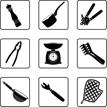 can opener: kitchen objects silhouettes in a nine square grid