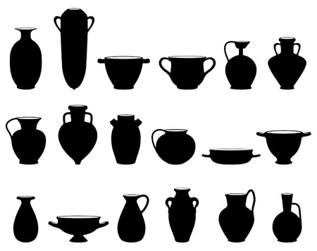 archeology: Old crockery objects black and white silhouettes
