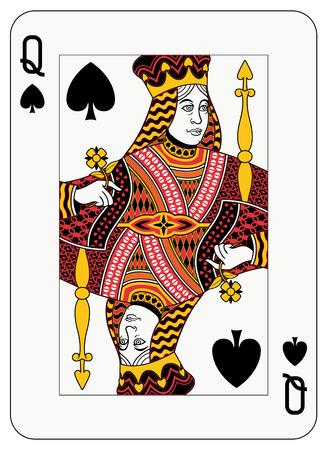 Queen of spade playing card Ilustração
