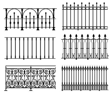 old fence: Black and white wrought iron modular railings and fences