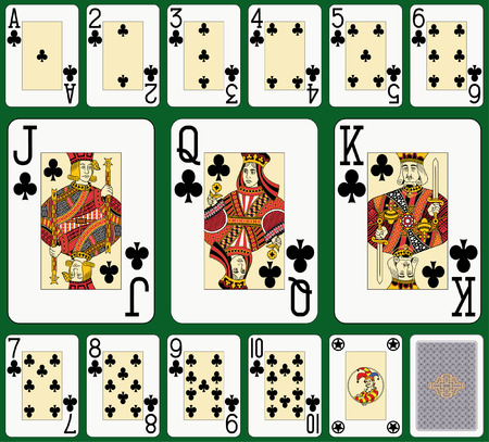 Club suit large index. Jack, queen and king double sized. Green background in a separate level in vector file