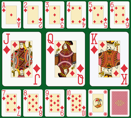 Diamond suit large index. Jack, queen and king double sized. Green background in a separate level in vector file