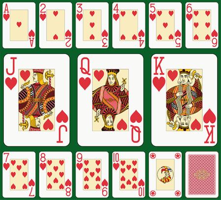 �ndice: Cora��o terno �ndice geral. Jack, rainha e rei dupla dimens�o. Fundo verde em um n�vel separado no arquivo vetorial Ilustra��o