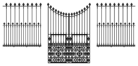 metal gate: wrought iron ornamental gate and fences illustration