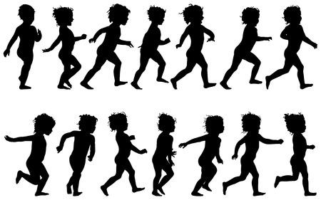 niño ejecutando, siluetas negras, catorce diferentes posturas  Ilustración de vector