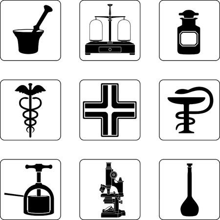 pharmacy icon: Alte Apotheke-Objekte in einem neun-Quadrat-Raster