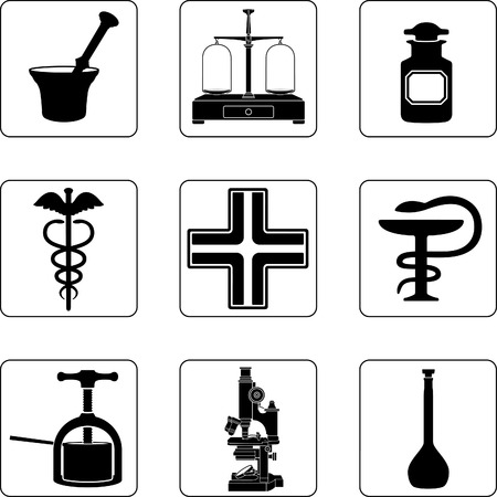 mortero: Objetos antiguos de farmacia en una cuadr�cula de cuadrados nueve Vectores