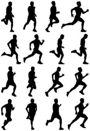 Running man black silhouettes, sixteen different postures Vector