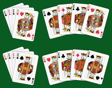 Playing cards: four kings in four different arrangements Vector