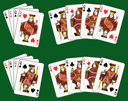 Playing cards: four queens in four different arrangements
