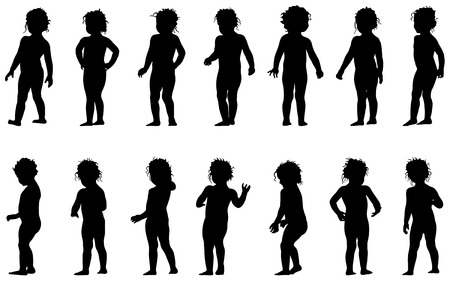 child standing,black silhouettes, fourteen different postures  Vector
