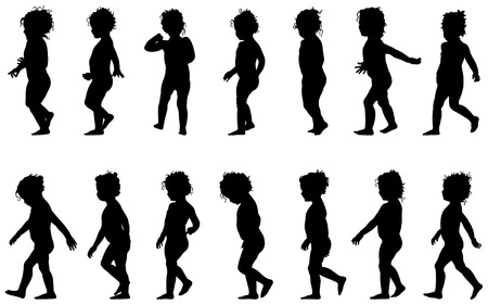 little girl feet: child walking, black silhouettes, fourteen different postures