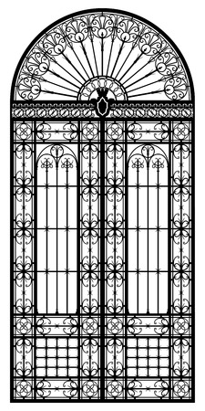 Retro-styled wrought iron portal black silhouette Vector