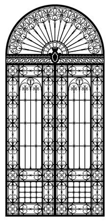 rejas de hierro: Silueta de portal negro de hierro forjado de estilo retro