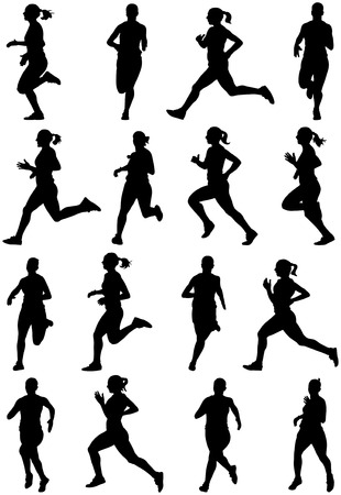 Running girl black silhouettes, sixteen different postures Illustration