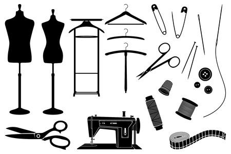 Schneider-Objekte und Ausrüstung schwarze und weiße Silhouetten