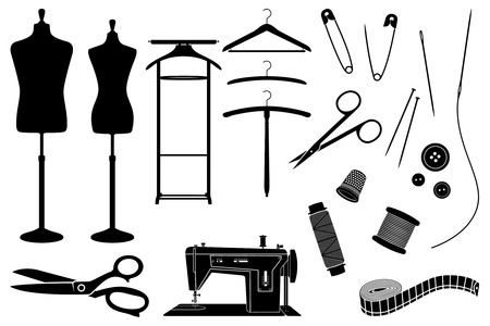 Tailors objects and equipment black and white silhouettes Vector