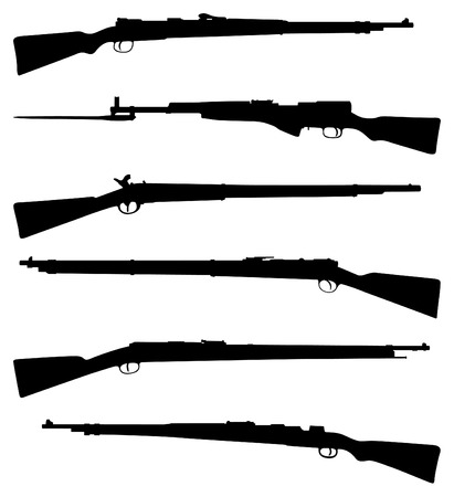 old rifle: Six old shotguns black on white detailed silhouettes