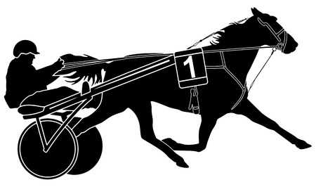 harness: trotter horse racing and sulky with driver