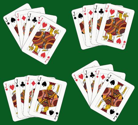 playing card symbols: Jugar a las cartas: cuatro conectores en cuatro diferentes arreglos