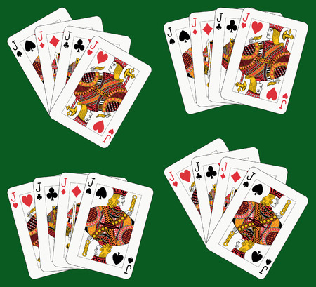 Playing cards: four jacks in four different arrangements