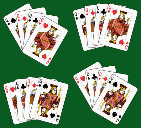 Playing cards: four queens in four different arrangements Vector