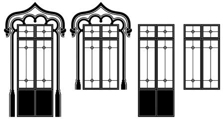 Fenster und Tür-Fenster, zwei unterschiedliche Anordnungen  Vektorgrafik