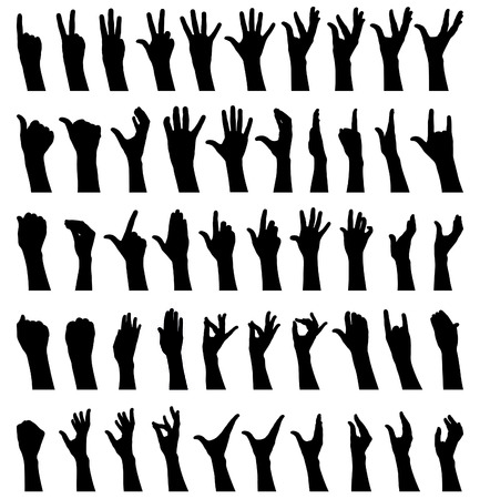 index finger: Fifty female hands gesturing black and white silhouettes