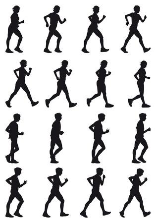 Jongen en meisje marcheren, zwarte silhouettres, zestien verschillende houdingen