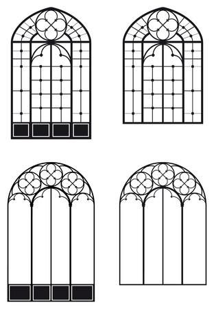 ramen en deuren-vensters, twee verschillende sets  Stock Illustratie
