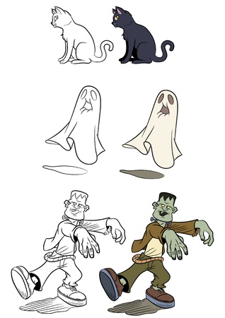 frankenstein: Cartoon style halloween set. Color and black and white. Vector size available.