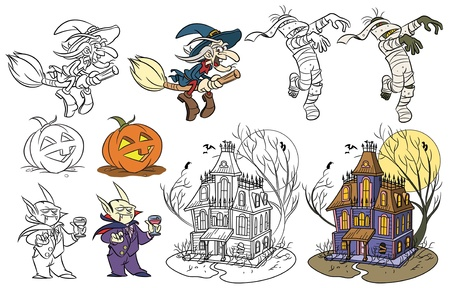 monsters house: Cartoon style halloween set. Color and black and white. Vector size available.