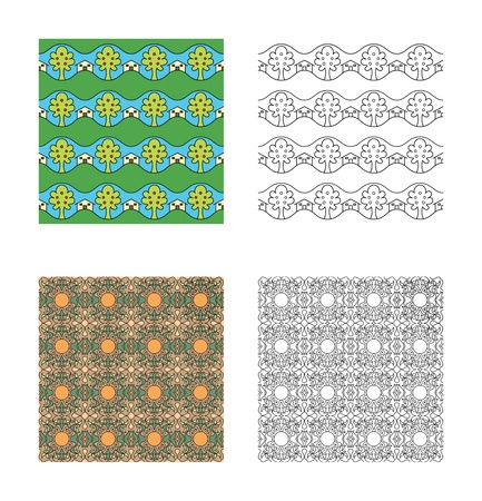 Two kinds of pattern. Black and white and colour.