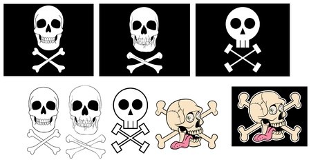 stylized and traditional jolly rogers with isolated elements Stock Vector - 11145283