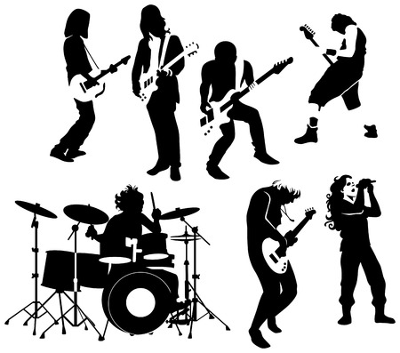 rock   roll: silhouette of rock and roll musicians Illustration