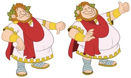 Romeinse keizer met duim omhoog en omlaag
